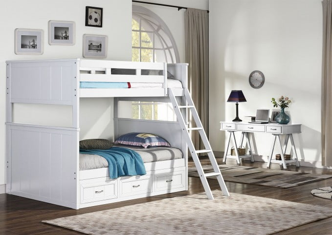 89119de83295 Taylor White Twin Over Full Bunk Bed from New Classic