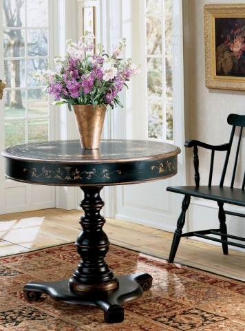 Regal Black Hand Painted Accent Hall Table