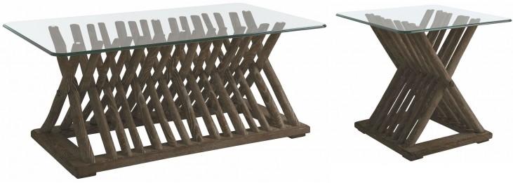 Coastal Living Resort Channel Marker Driftwood Flats Occasional Table Set