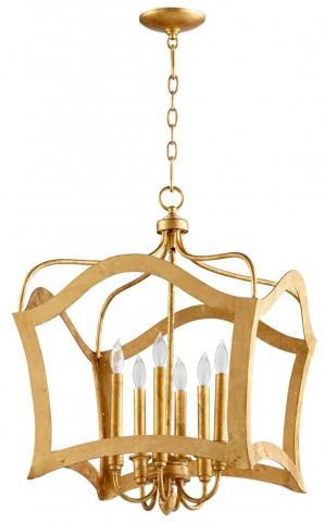 Milan Gold Leaf 6 Light Pendant