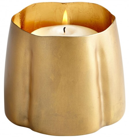 Fortuna Antique Brass and Gold Leaf Large Candleholder