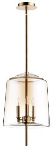 Lusterous Satin Brass 3 Light Pendant