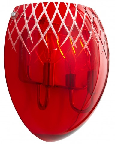 Etched Red 2 Light Sconce