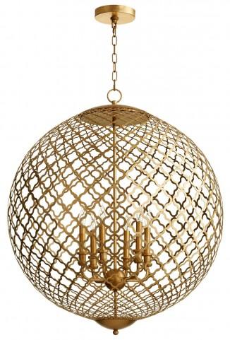 Skyros 6 Light Golden Pendant