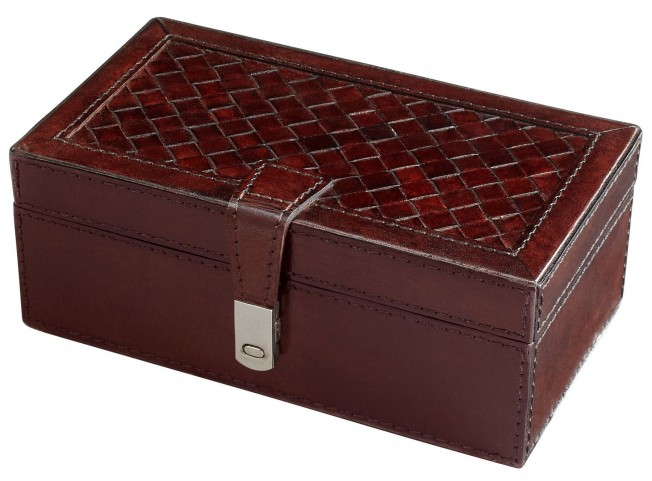 Top It Off Leather and Wood Container