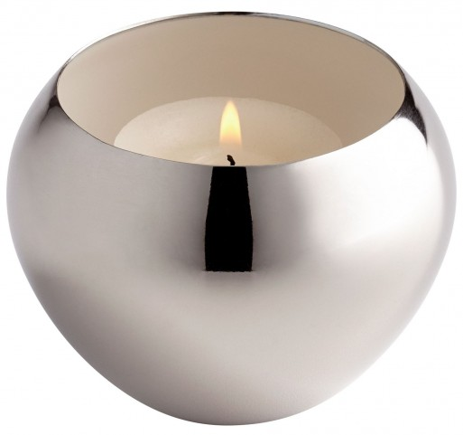 Nickel and White Candle Cup