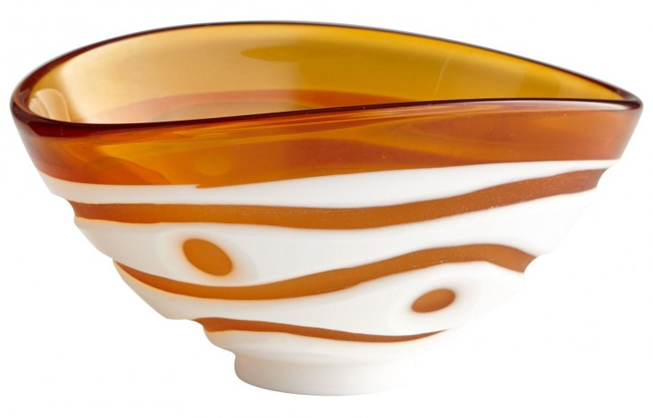 Small Amber and White Dotty Bowl