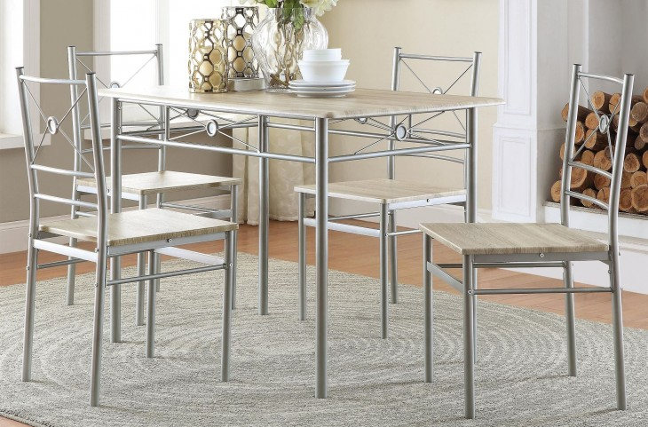 100035 Brushed Silver 5 Piece Dinette Set