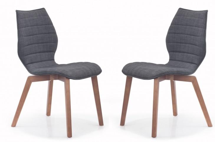 Aalborg Graphite Fabric Chair Set of 2