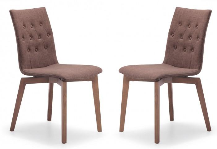Orebro Tobacco Fabric Chair Set of 2