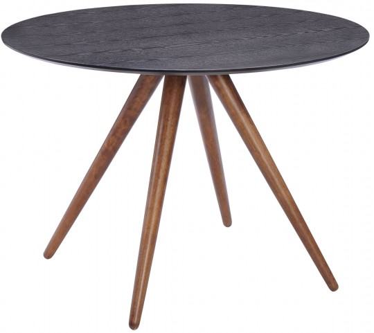 Grapeland Heights Walnut & Black Round Dining Table