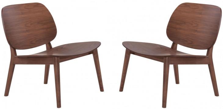 Priest Walnut Lounge Chair Set of 2