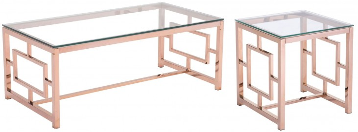 Geranium Rose Gold Occasional Table Set