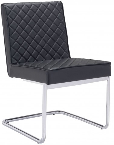 Quilt Black Armless Dining Chair Set of 2