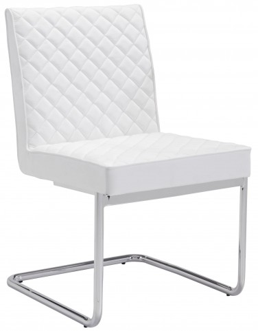 Quilt White Armless Dining Chair