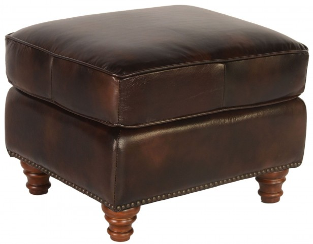 Century Toberlone Leather Ottoman