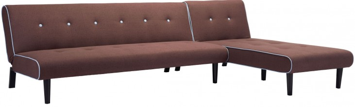 Greco Mocha With Pale Blue Trim Sleeper Sectional
