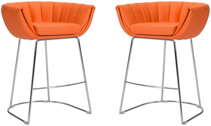 Latte Orange Bar Chair Set of 2