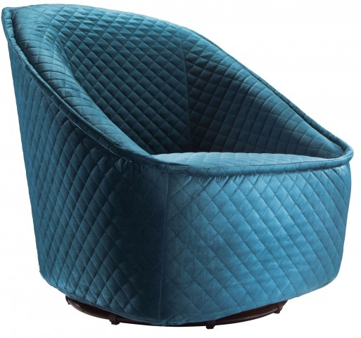 Pug Quilted Aquamarine Swivel Chair