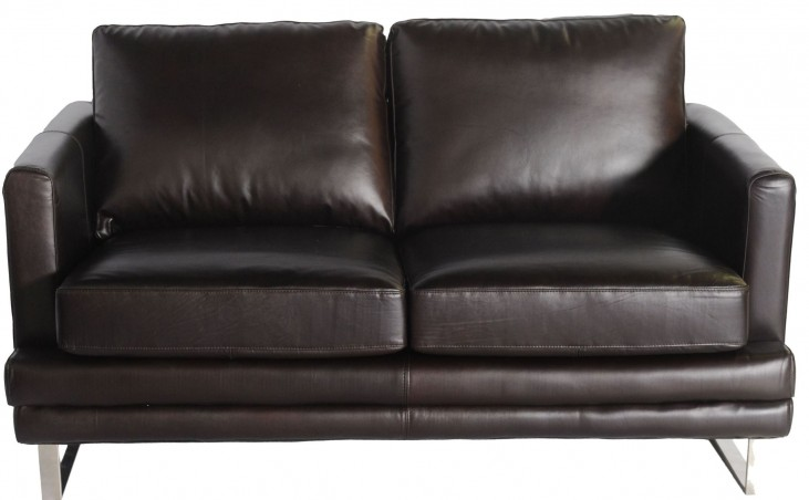 Melbourne Dark Chocolate Leather Loveseat