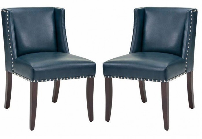 Marlin Blue Leather Dining Chair Set of 2
