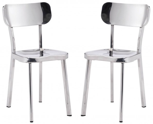 Winter Polished Stainless Steel Dining Chair Set of 2