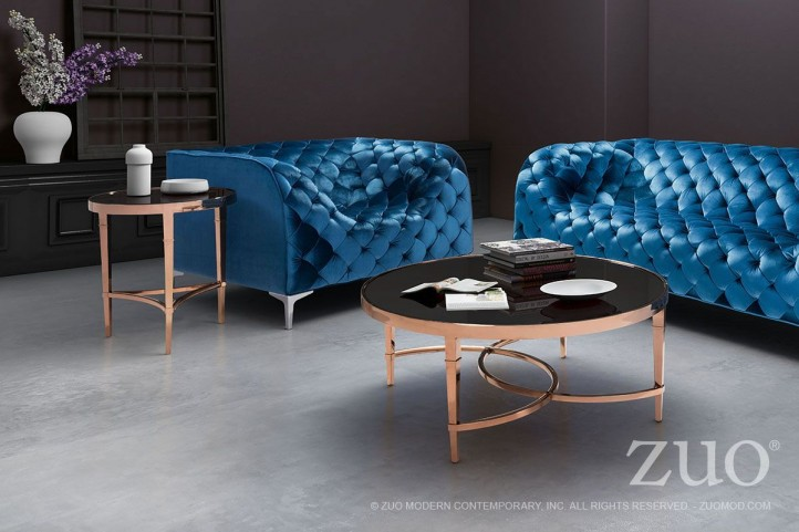 Elite Rose Gold & Black Occasional Table Set