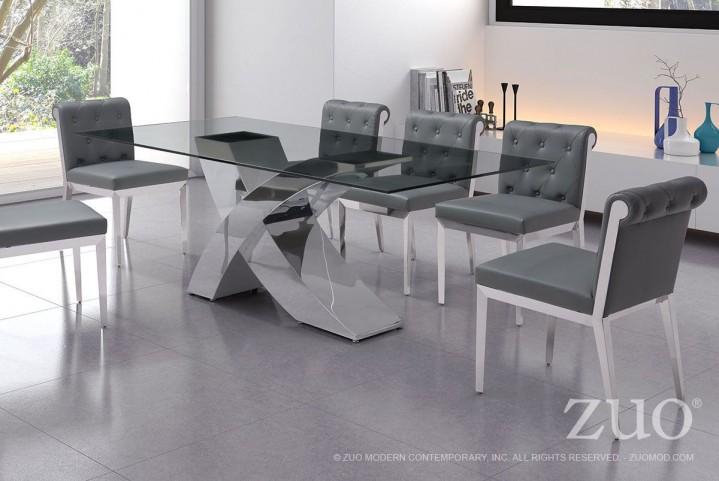 Wave Chrome Rectangular Dining Room Set