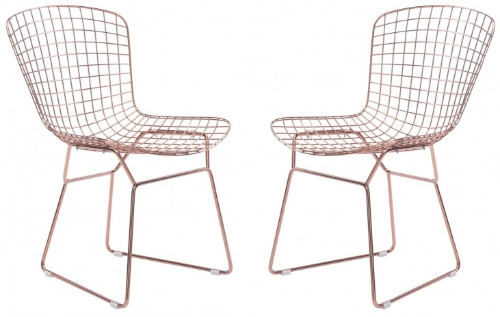 Wire Rose Gold Dining Chair Set of 2