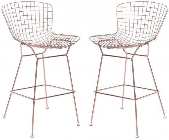 Wire Rose Gold Bar Chair Set of 2
