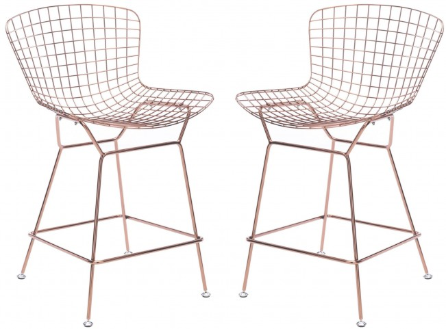 Wire Rose Gold Counter Chair Set of 2