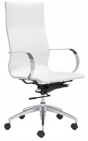 Glider White High Back Office Chair