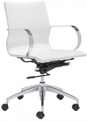 Glider White Low Back Office Chair