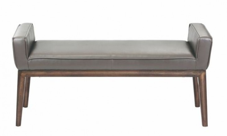 Harrod Dove Gray Leather Bench