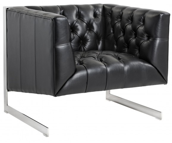 Viper Black Leather Armchair