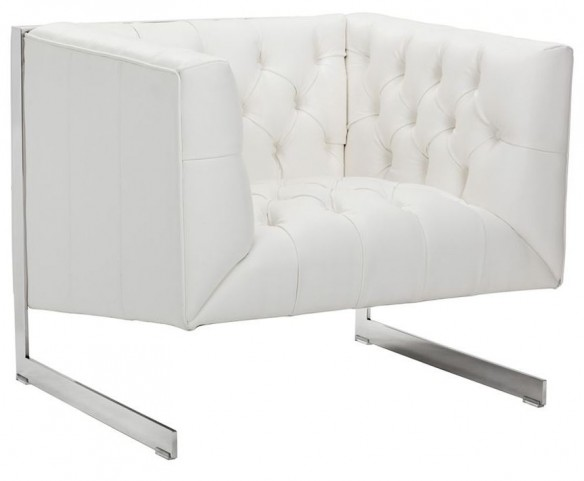 Viper White Leather Armchair