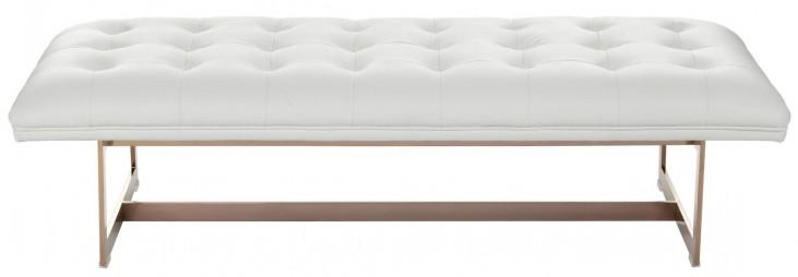 Matisse White Leather Ottoman
