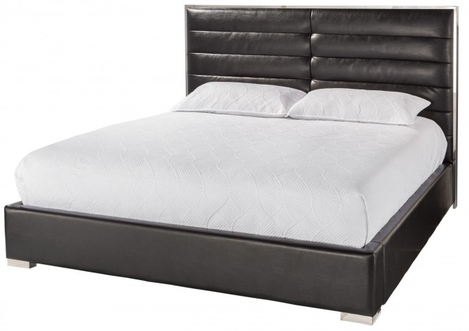 Avalon Black King Upholstered Platform Bed