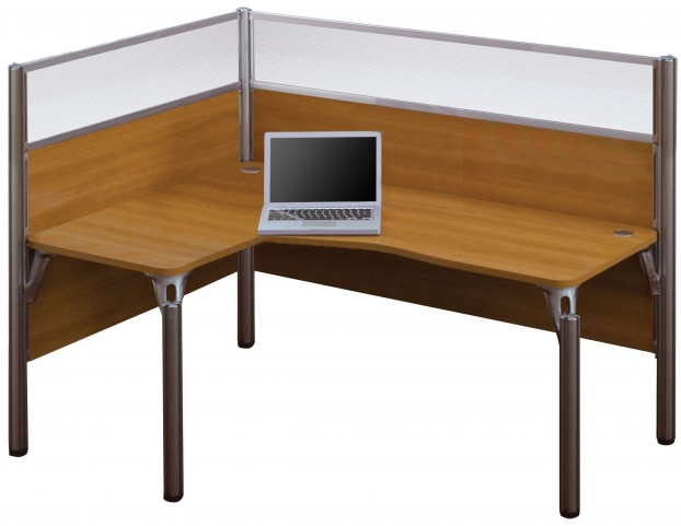 Pro-Biz Cappuccino Cherry Single Left Glass Panel L-Desk
