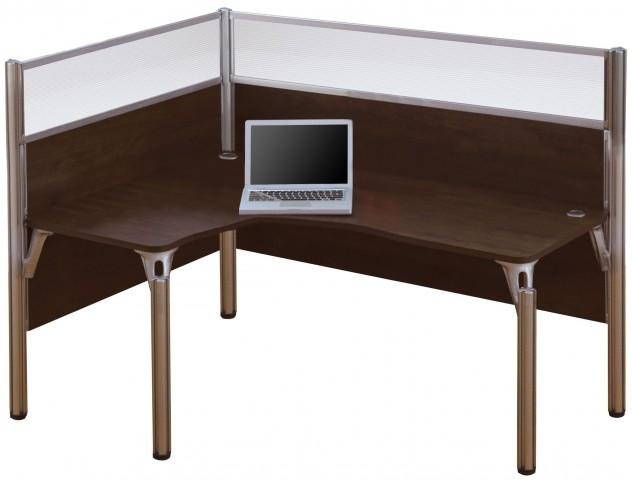 Pro-Biz Chocolate Left Single Glass Panel L-Desk