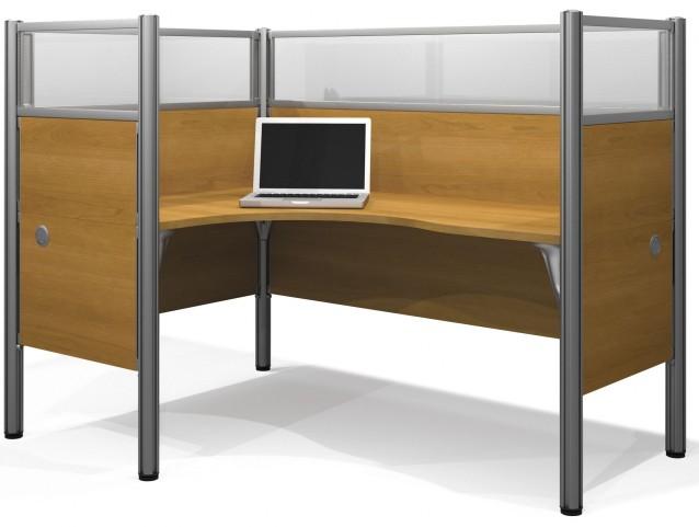 Pro-Biz Cappuccino Cherry Single Left Glass Panel L-Desk Workstation