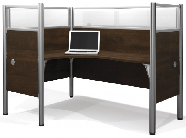 Pro-Biz Chocolate Left Single Glass Panel L-Desk Workstation