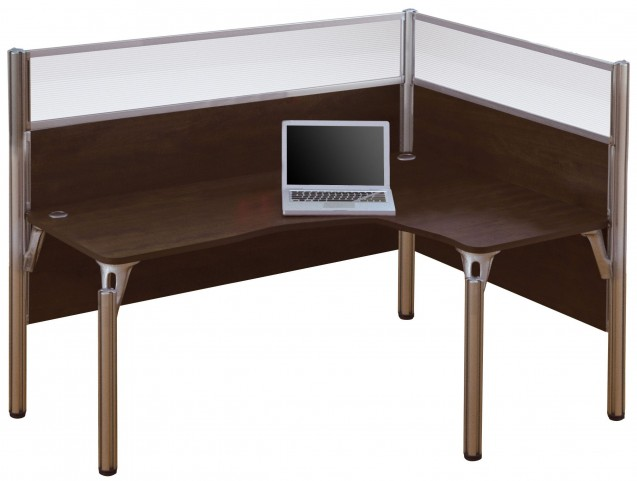 Pro-Biz Chocolate Right Single Glass Panel L-Desk
