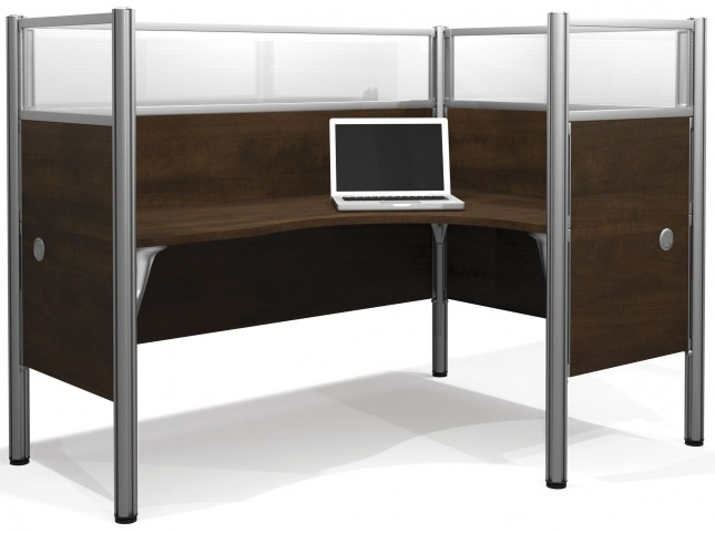 Pro-Biz Chocolate Right Single Glass Panel L-Desk Workstation