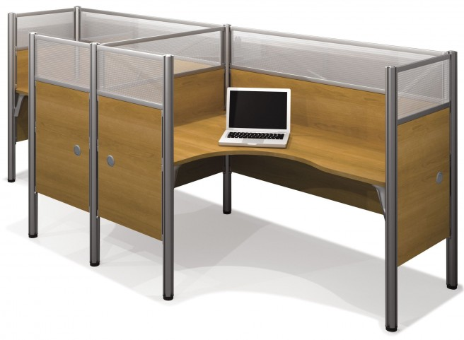 Pro-Biz Cappuccino Cherry Double Side-by-Side Partition Glass Panel L-Desk Workstation
