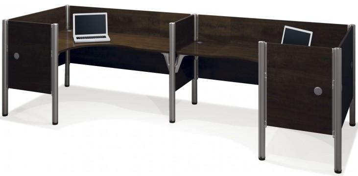 Pro-Biz Chocolate Double Back to Back Partition L-Desk Workstation