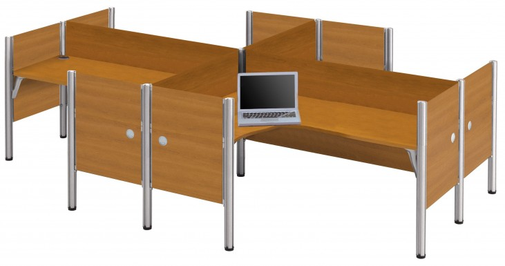 Pro-Biz Cappuccino Cherry Four Partition L-Desk Workstation