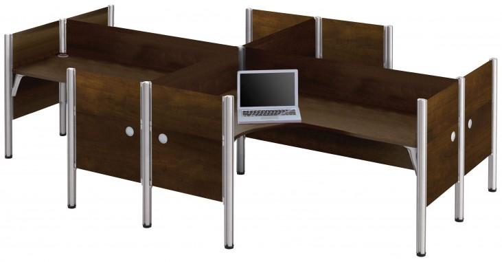 Pro-Biz Chocolate Four L-Desk Partition Workstation