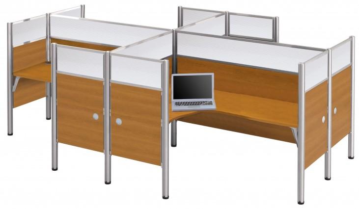 Pro-Biz Cappuccino Cherry Four Partition Glass Panel L-Desk Workstation