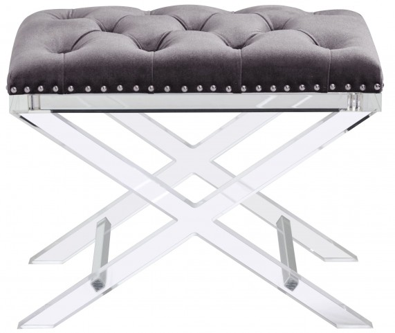 Allura Light Grey Fabric Bench